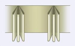 bij het openen van de gordijnen blijft er een groter pakket hangen dan bij de enkele plooi
